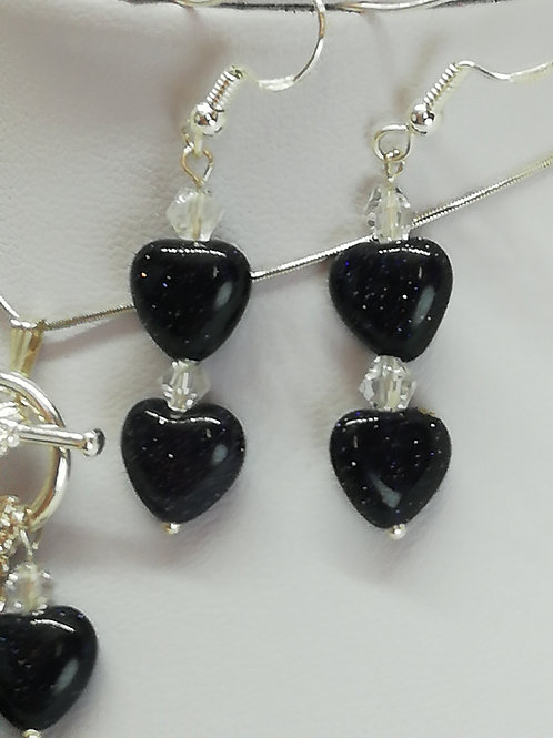 Handmade Blue goldstone puffy hearts with crystals earrings