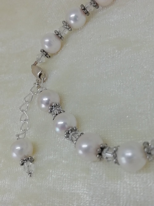 Freshwater Pearls set with Swarovski Crystals and Antique Silver Bracelet