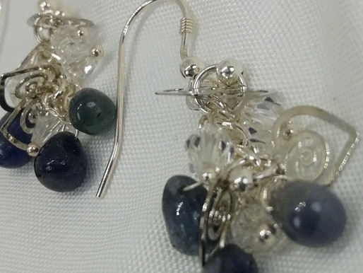 Handmade Sapphire briolettes and silver hearts suspended earrings