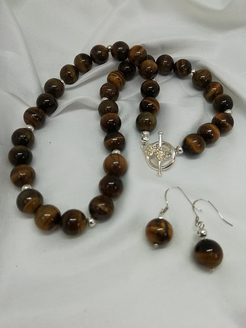 Handmade Round tiger's eye beads with silver spacers necklace