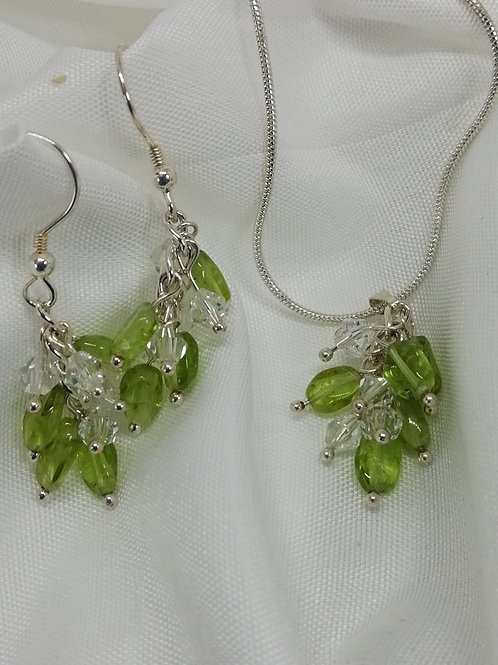 Handmade Oval peridots with crystals set on a sterling silver chain pendant