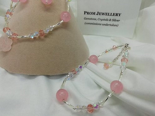 Rose Quartz Beads with Pink & Clear Crystals, extender Chain Bracelet