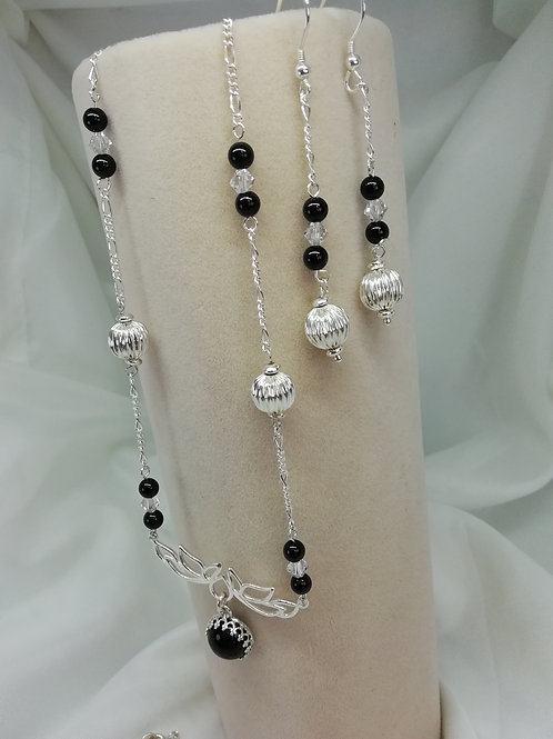 Handmade Black onyx cabochon set in a sterling silver necklace