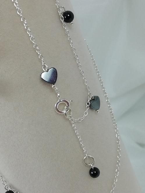 Handmade Dainty hematite hearts and black onyx beads bracelets