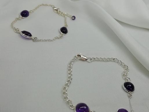 Handmade Pretty amethyst cabochons set bracelets