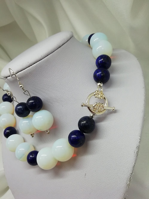 Opaline and Lapis Earrings