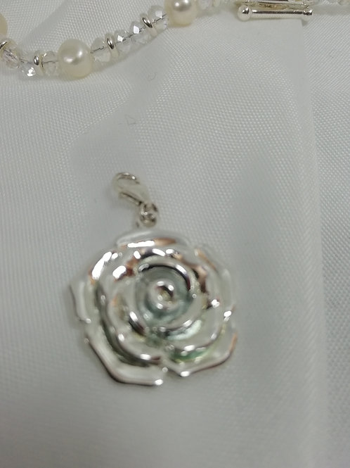 Handmade Solid sterling silver rose with silver pendant