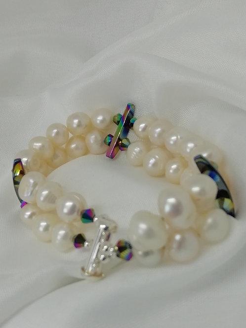 Handmade Freshwater Pearl Double Row with Rainbow Hematite bracelet