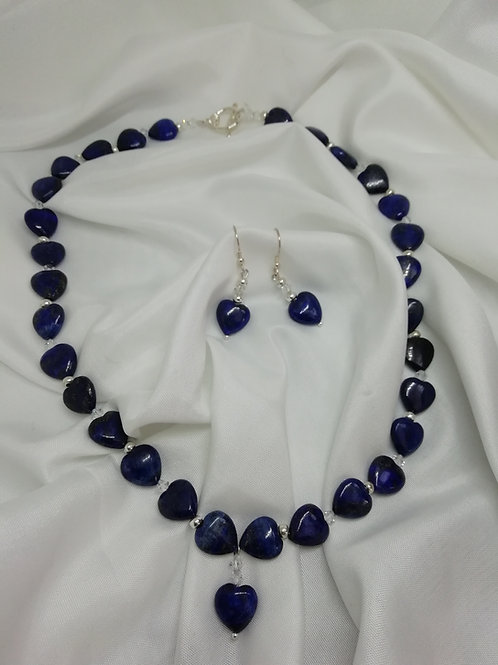 Lapis lazuli puffy hearts with crystals and silver necklace