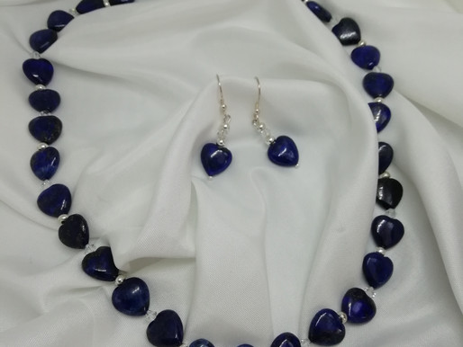 Handmade Lapis lazuli puffy hearts with crystals and silver necklace