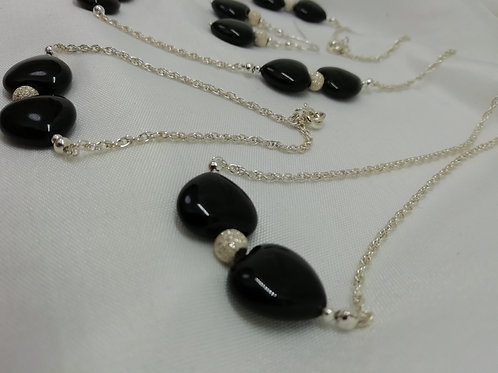 Black Agate Heart set with Silver Stardust Spacers on Silver Rope Chain Bracelet