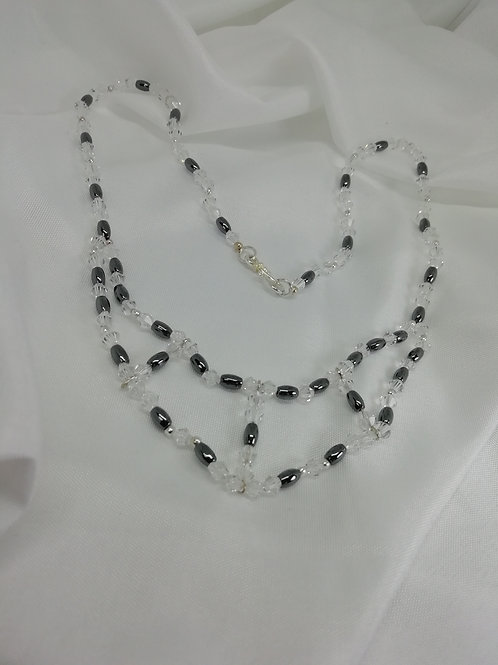 Handmade Hematite barrels with crystals and silver necklace