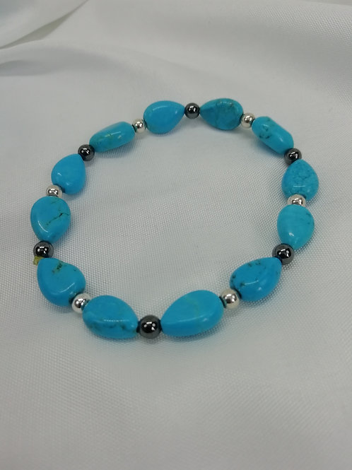 Blue Magnasite Puffy Hearts set with Silver and Hematite Bracelet