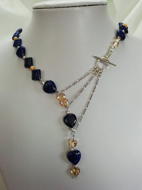 Handmade Lapis lazuli square and heart shaped necklace