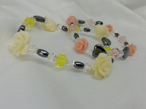 Coral Rose, Crystal & Hematite Bracelet