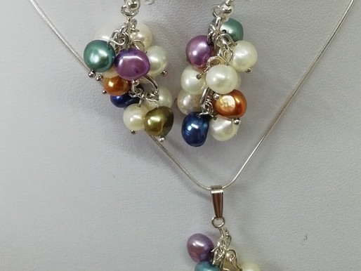 Handmade Multi Colour freshwater pearls earrings