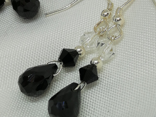 Handmade Faceted black spinel briolettes black and clear crystals on sterling earrings