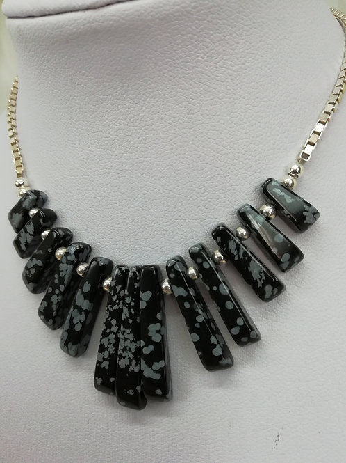 Snowflake obsidian batons in a choice of styles with sterling silver necklace