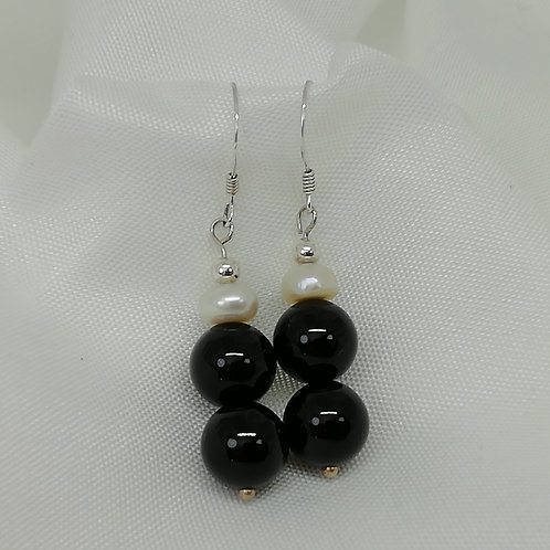 Black Onyx and Freshwater Pearl Earrings