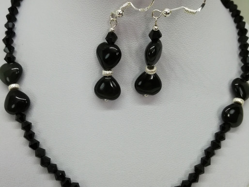 Handmade Black agate puffy hearts with a black crystal and silver bead earrings