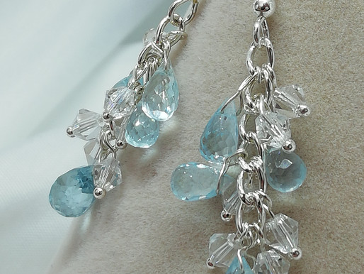 Handmade Faceted blue topaz briolettes suspended from sterling silver earrings