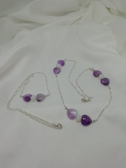 Amethyst puffy hearts with opaline bead spacers , sterling silver necklace