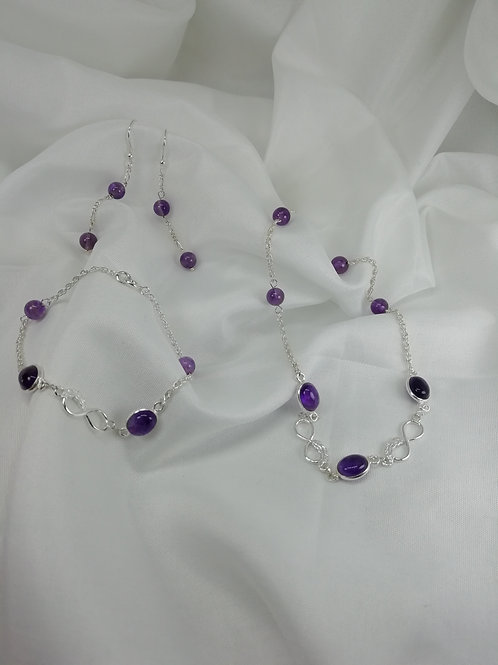 Handmade Amethyst oval cabochons in elegant sterling silver necklace
