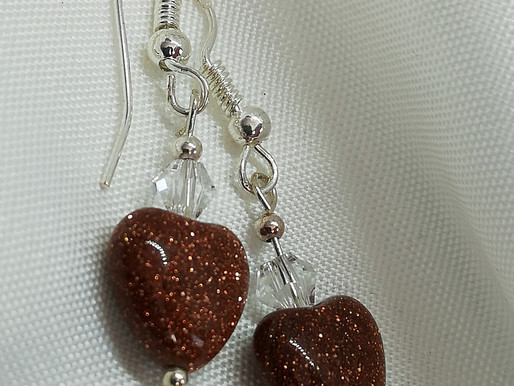 Handmade Goldstone puffy hearts with crystals on sterling silver earrings