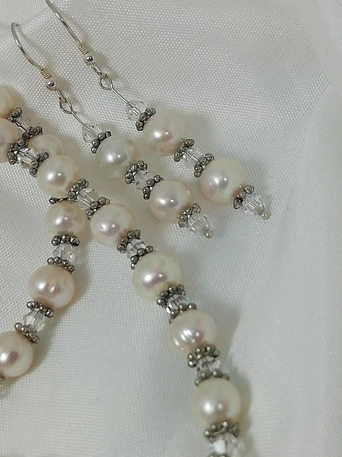 Freshwater Pearl, Crystal & Antique Silver Earrings