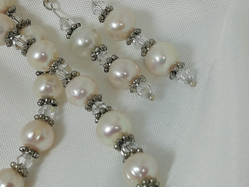 Handmade Freshwater pearls with crystals and antique earrings