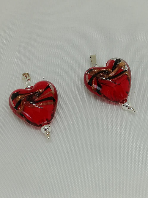 Handmade Murano glass hearts with sterling silver pendant