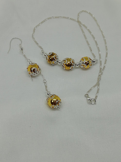 Handmade Gold hematite beads with silver necklace