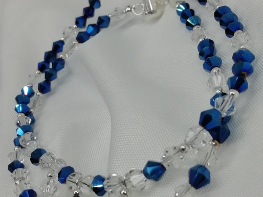 Handmade Metallic blue and clear crystals in a double strand bracelets