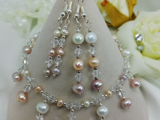 Handmade Peach lilac and ivory freshwater pearls earrings