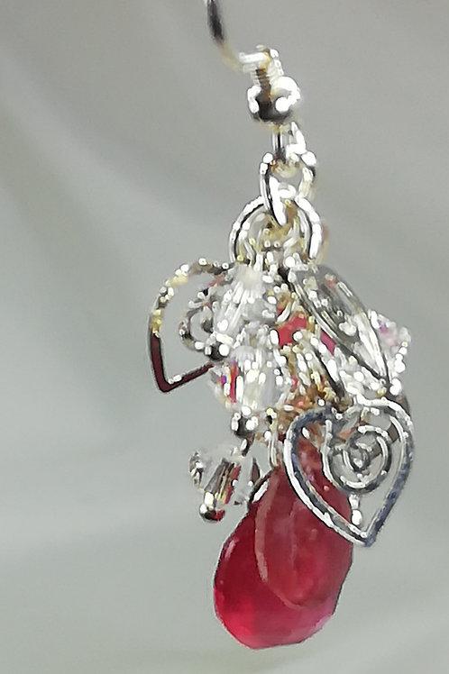 Faceted Ruby & Crystal Earrings