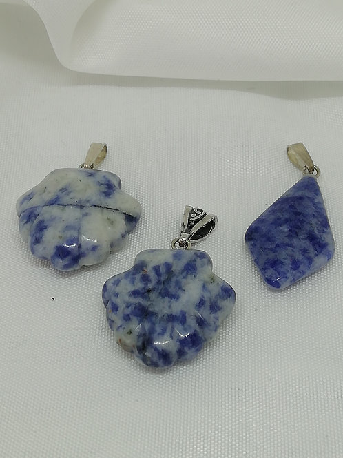 Handmade natural Gemstone carved shells and diamonds with sterling silver pendant