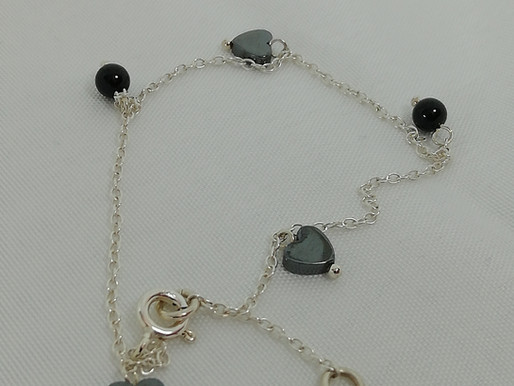 Handmade Dainty hematite hearts and black onyx beads bracelets