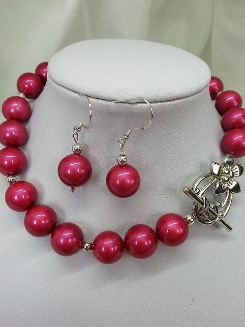 Fuchsia Shell Pearl  Earrings