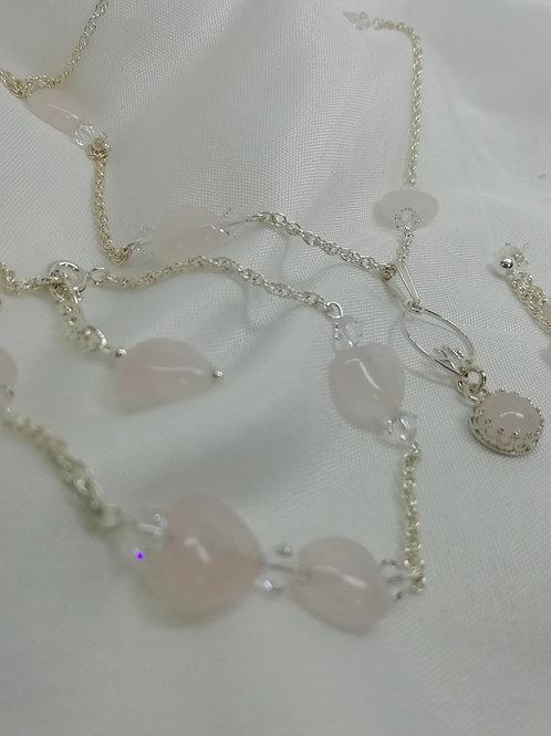 Rose Quartz, Crystal & Silver Bracelet