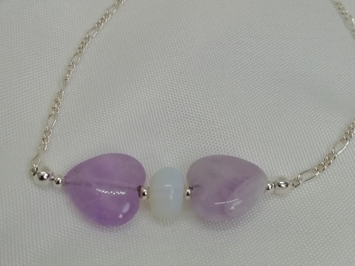 Handmade Amethyst hearts with an opaline bead spacer with silver rope chain bracelets