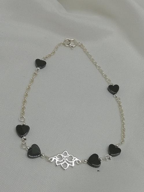 Hematite & Silver Lotus Flower Bracelet