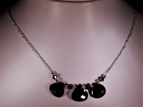 Handmade Three trillian cut faceted black spinels set with black crystals necklace