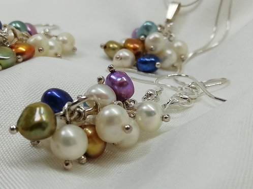Multi Coloured Freshwater Pearl Earrings