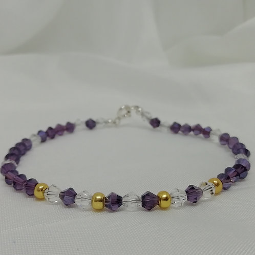 Dainty Purple & Clear Crystals with Gold Plated Bead Bracelet
