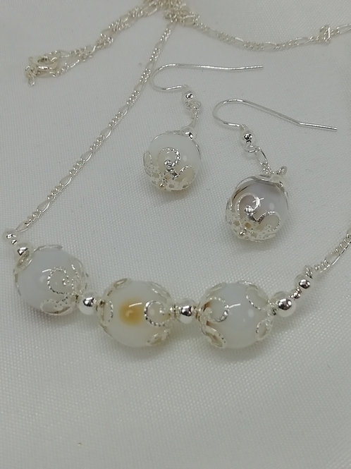 Banded Agate & Silver Necklace