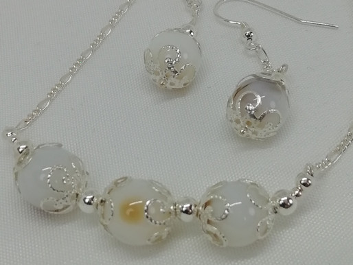 Handmade Light banded agate beads with silver necklace
