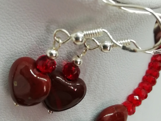Handmade Red agate puffy heart with a red crystal and silver bead earrings
