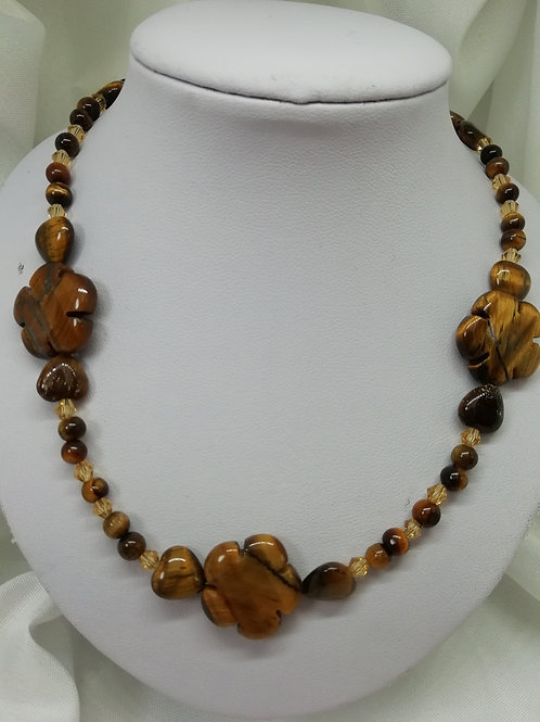 Handmade Tiger's eye cut into flowers and hearts with tiger's eye necklace