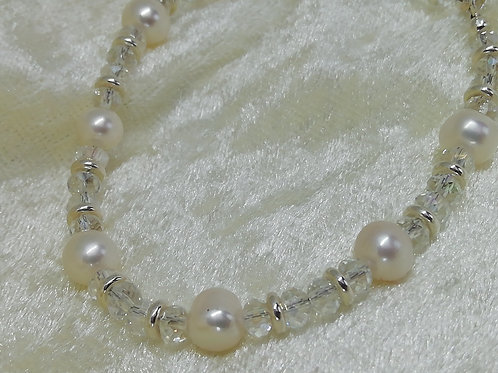 Handmade natural Freshwater pearls with swarovski crystals and silver spacers bracelets