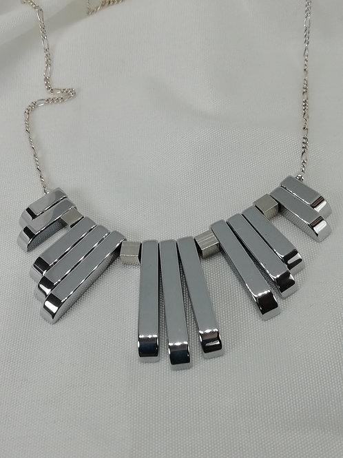 Silver hematite batons in a choice of styles with sterling silver necklace